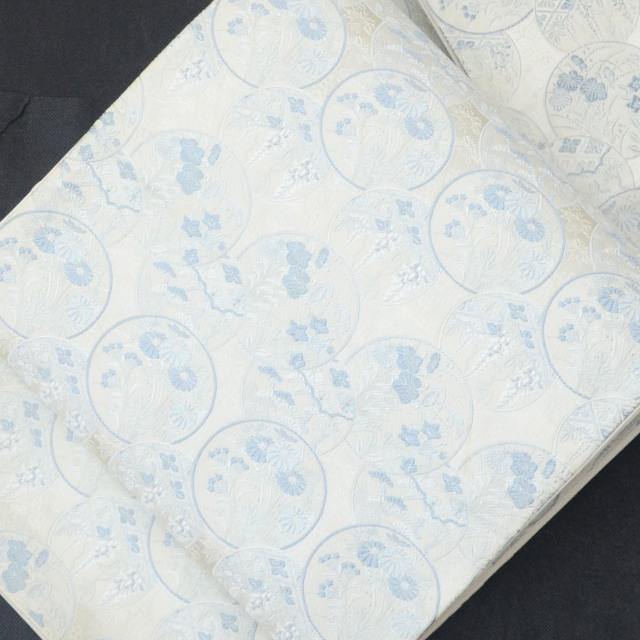 袋帯 リサイクル 中古 正絹 ふくろおび 西陣 花文様 白系 jj2694b