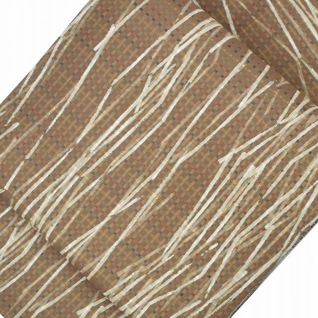 袋帯 リサイクル 中古 正絹 ふくろおび 洒落袋 特選 抽象文様 リバーシブル 美品 茶系 jj2607a20