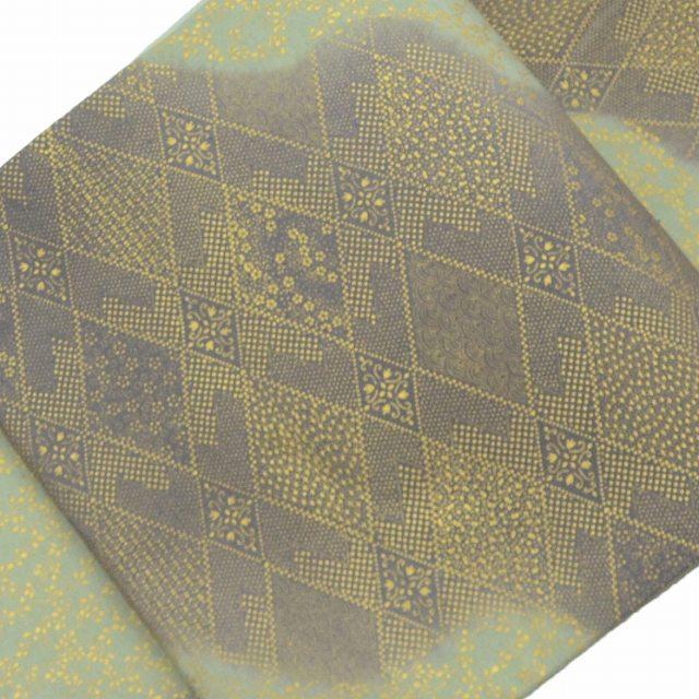 【中古】 リサイクル帯 袋帯 / 仕立て上がり 正絹 紬地 幾何学文様 緑系 ll0020b10 【着物ひととき】