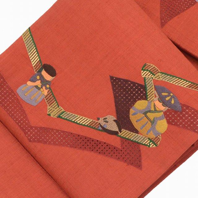 袋帯 リサイクル 中古 正絹 ふくろおび 洒落袋 人形文様 赤系 スワトウ刺繍 美品 特選 ll0560a10