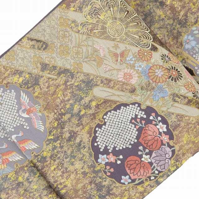 袋帯 リサイクル 中古 正絹 結婚式 ふくろおび 西陣 引き箔 雪輪霞文様 紫系 美品 ll0864a20