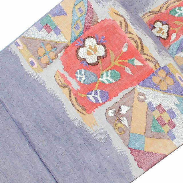 【中古20】袋帯 リサイクル 中古 正絹 ふくろおび 洒落袋 花文様 紫系 ll1028a10