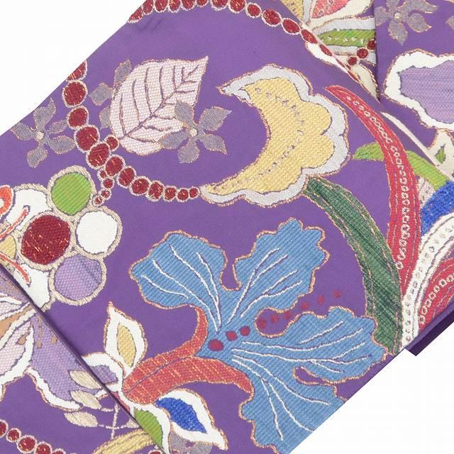 【全品20】リサイクル 袋帯 サイクル着物 セール 【中古】 正絹 ふくろおび 西陣 洋花文様 紫系 特選 美品 着物ひととき ll1328b