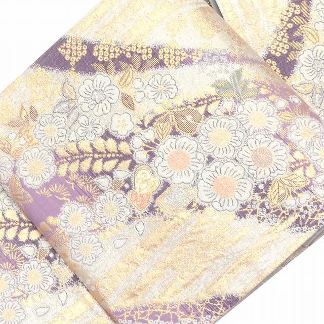 【中古20】袋帯 リサイクル 中古 正絹 結婚式 ふくろおび 西陣 辻ヶ花文様 特選 螺鈿 紫系 ll1284a200