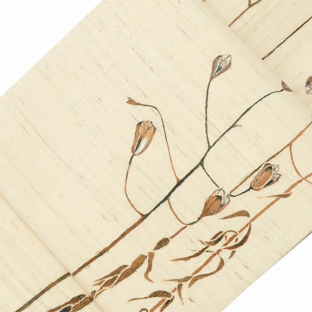 リサイクル 名古屋帯 中古 正絹 九寸 なごやおび 紬地 植物文様 ぜんまい紬 美品 白系 ll1359a10