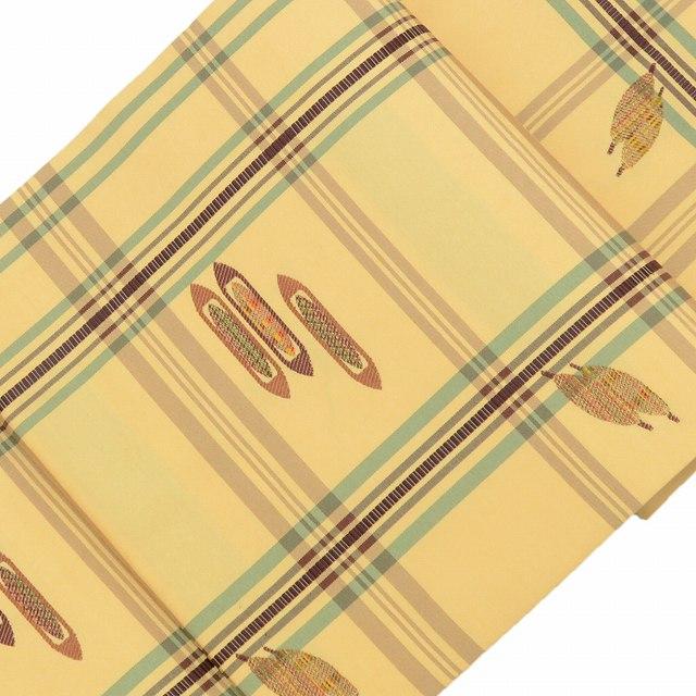 リサイクル 名古屋帯 中古 正絹 九寸 なごやおび 器物文様 美品 黄色系 ll1634a03