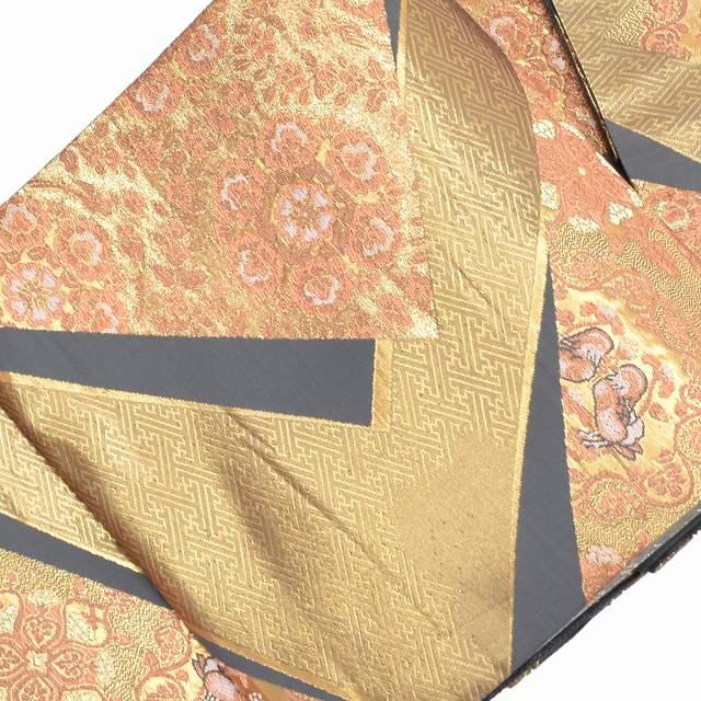 【中古】 リサイクル帯 袋帯 / 仕立て上がり 正絹 結婚式 錦織 おしどり文様 金系 ll1904b015 【着物ひととき】