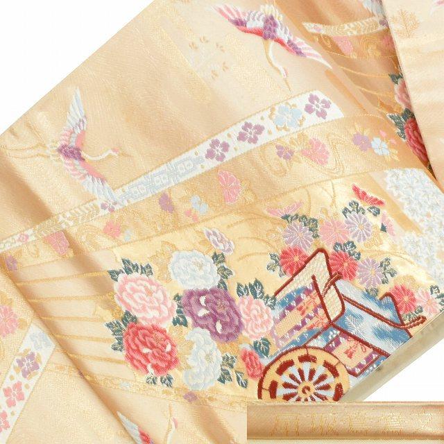 【中古】 リサイクル帯 袋帯 / 仕立て上がり 正絹 結婚式 錦織 花文様 金系 ll2093b015 【着物ひととき】