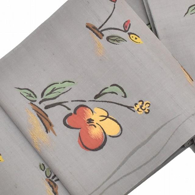 【クーポン利用で10%OFF】【中古】 リサイクル帯 袋帯 / 仕立て上がり 正絹 洒落袋 花文様 グレー系 ll2133b 【着物ひととき】
