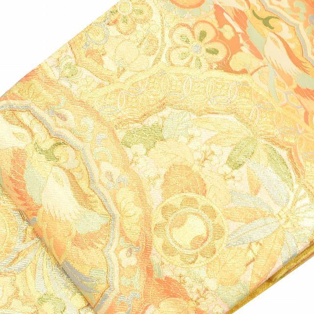 【中古】 リサイクル帯 袋帯 / 仕立て上がり 正絹 結婚式 振袖 錦織 花文様 金系 ll2351b04 【着物ひととき】