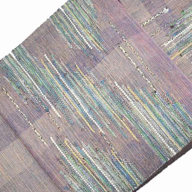 【全品20】リサイクル 名古屋帯 中古 交織 八寸 なごやおび 紫系 縞文様 ll2477a03セール 【中古】【着物ひととき】