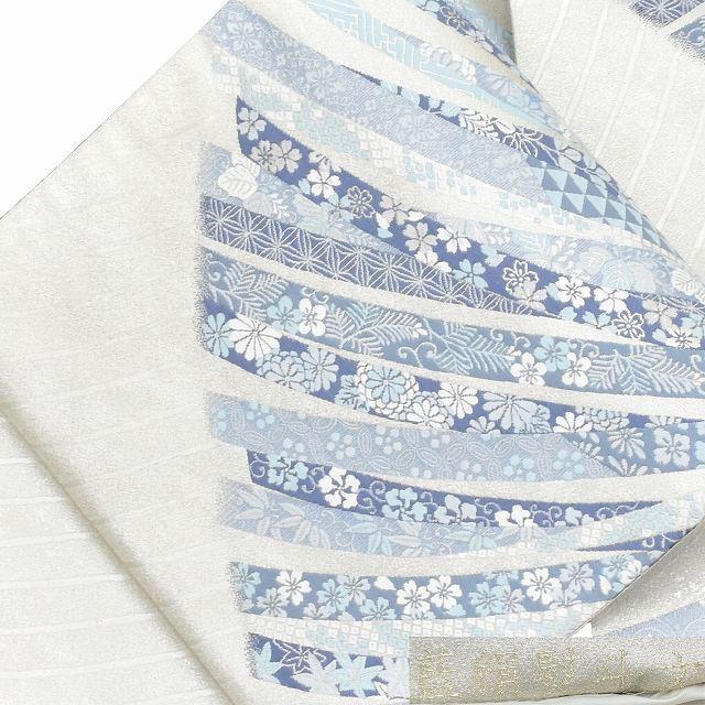 【中古】 リサイクル帯 袋帯 / 仕立て上がり 正絹 結婚式 花文様 銀系 ll2918b 【着物ひととき】