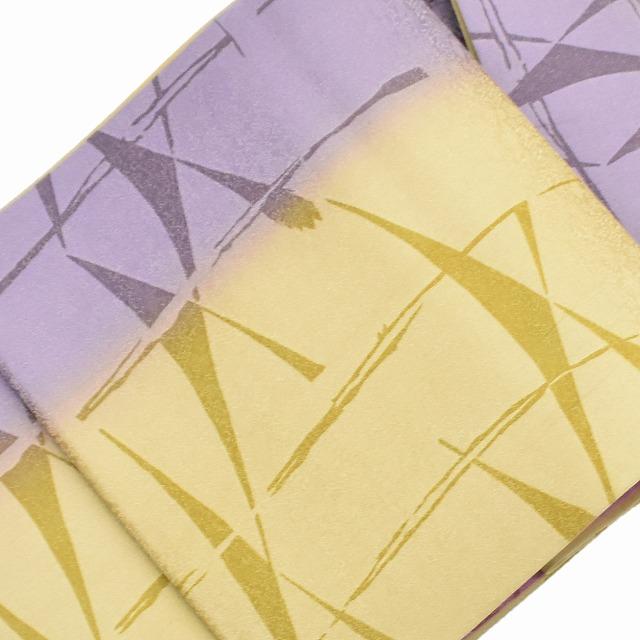 【中古】 リサイクル帯 袋帯 / 仕立て上がり 正絹 ろうけつ染 笹文様 カーキ系 ll3028b 【着物ひととき】