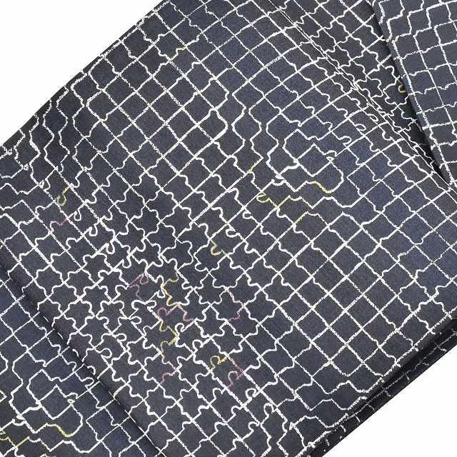 【クーポン利用で10%OFF】【中古】 リサイクル 袋帯 / 仕立て上がり / リサイクル帯 / 正絹 幾何学文様 ブラック系 特選 リバーシブル ll3314b 【着物ひととき】