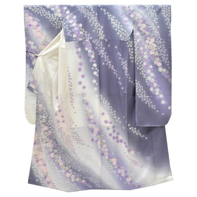 振袖 正絹 長襦袢 2点セット 花文様 仕立上り 淡紫 LLサイズ ちょっとふくよかL 【新品】【着物ひととき】 spo7209-iknb125
