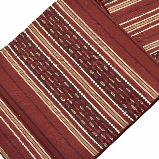 【中古】 【U30】袋帯 リサイクル 仕立て上がり 帯 正絹 茶系 龍村平蔵製 甲比丹段文 mm0288b