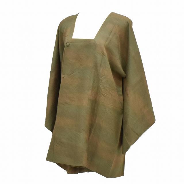 【中古】 リサイクル コート 塵除け 正絹 道行衿 はおり 身丈82cm 裄65.5cm 笹の葉文様 緑系、茶系 mm0290b 【着物ひととき】