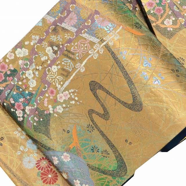 【中古】 リサイクル帯 袋帯 / 仕立て上がり 正絹 結婚式 振袖用 美品 几帳文様 金系 特品★★★★ mm0402b 【着物ひととき】