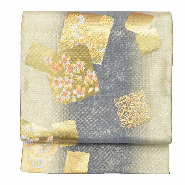 【中古】 リサイクル帯 袋帯 / 正絹 結婚式 仕立て上がり 色紙文様 金系 特選逸品★★★★★ mm1707b 【着物ひととき】