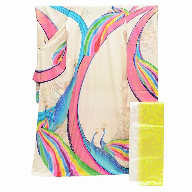 【クーポン利用で10%OFF】 【中古】 リサイクル着物 / 引き振袖 袋帯 中古 2点セット / リサイクル 着物 / 中古 花嫁衣裳 婚礼 裄66cm 身丈182cm 白・ピンク色系 くじゃく文様 mm1697b 【着物ひととき】