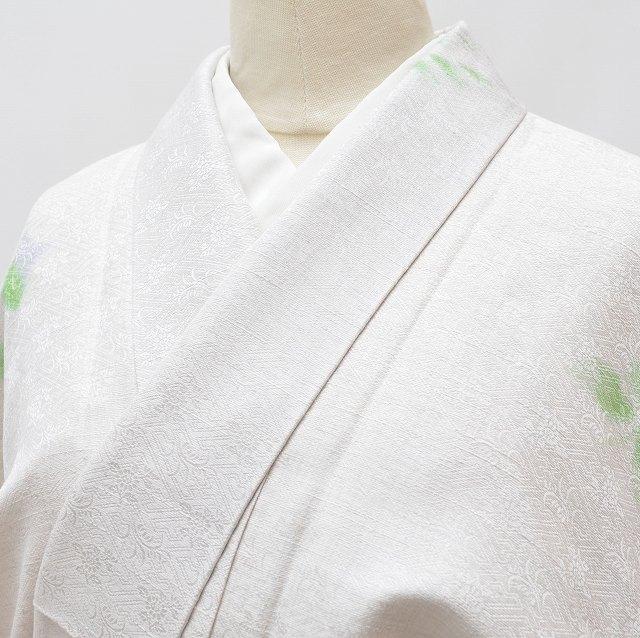 【中古】 リサイクル着物 紬 正絹 仕立て上がり 女性 美品 裄63.5cm M 身丈163cm L 白色系 花文様 特品★★★★ mm2210b 【着物ひととき】
