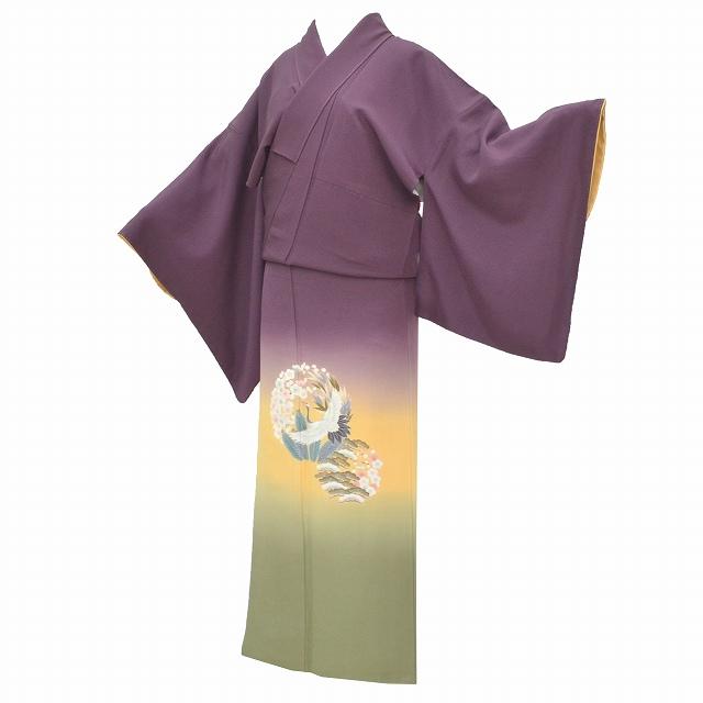 【中古】 リサイクル 色留袖 正絹 仕立て上がり 一つ紋 紫 緑 黄色系 リサイクル着物 落款有 裄67cm L 身丈158cm M 特品 mm2991b 【着物ひととき】