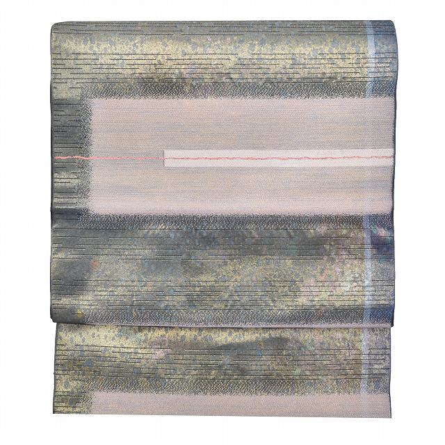 【中古】 リサイクル / 袋帯 / 正絹 / 仕立て上がり / リサイクル帯 / 錦織 / 幾何学文様 / 緑系 / 美品 / 特品 mm3045b 【着物ひととき】