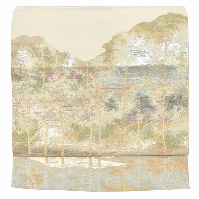 【中古】 リサイクル 袋帯 正絹 仕立て上がり リサイクル帯 ふくろおび 結婚式 樹木文様 黄色系 pp0247b 【着物ひととき】