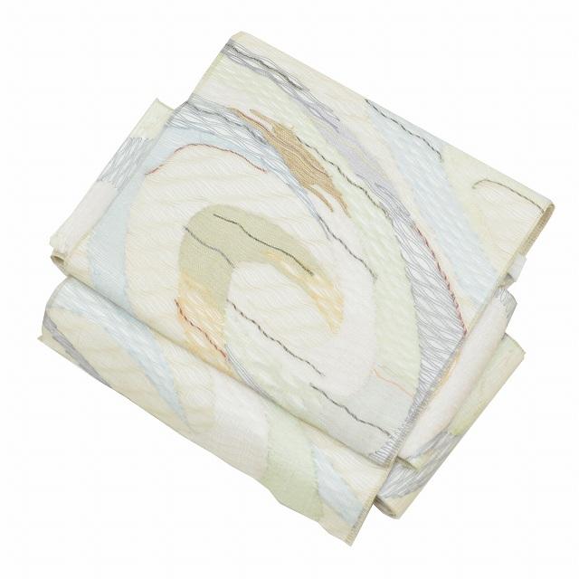 【新着10】【中古】 リサイクル 作り帯 正絹 袋帯 夏用 二重太鼓 着物用 着用可能 付帯 簡単着付け 初心者向け 帯枕付き 美品 白色系 流水文様 kkb0836b 【着物ひととき】