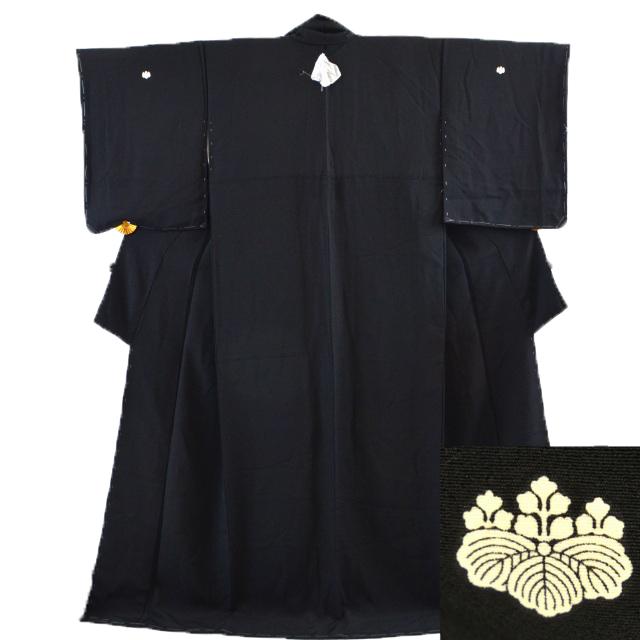 【中古】 リサイクル着物 / 喪服 着物 正絹 黒 裄62cm M~Lサイズ もふく hh0121 【着物ひととき】