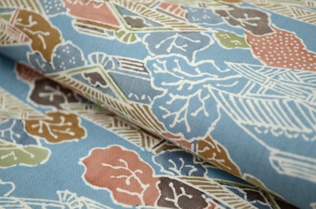 大岛捻线绸二手货再利用纯丝色大岛捻线绸以后染色青家屋文様裄63 M尺寸tsumugi hh3486