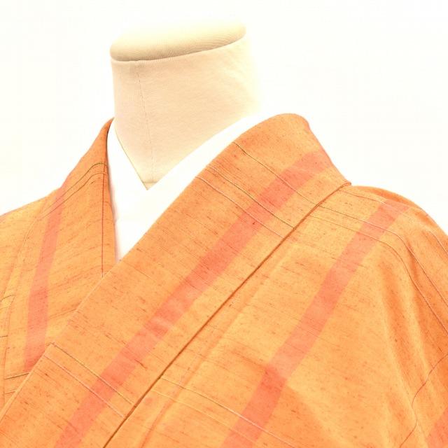 【中古】 リサイクル着物 紬 正絹 オレンジ 格子文様 裄64 Mサイズ つむぎ hh3513 【着物ひととき】