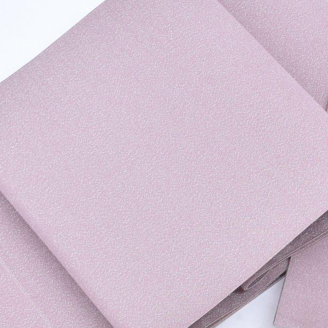 【中古】 【U50】袋帯 リサイクル 仕立て上がり 正絹 綴織 ピンク色 銀ラメ織 無地 hh3675