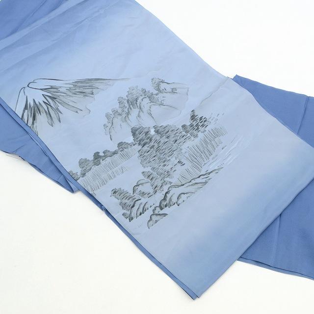 【全品20】リサイクル着物 特選 長じゅばん 【中古】 男性 リサイクル 長襦袢 正絹 未仕立て 青色 富士山 風景画 裄78cm Lサイズ ながじゅばん hh4096 着物 着物 ひととき