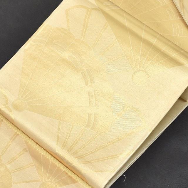袋帯 リサイクル 中古 正絹 ふくろおび 扇面文 金系 ii0238b【リサイクル着物】【中古】【着物ひととき】