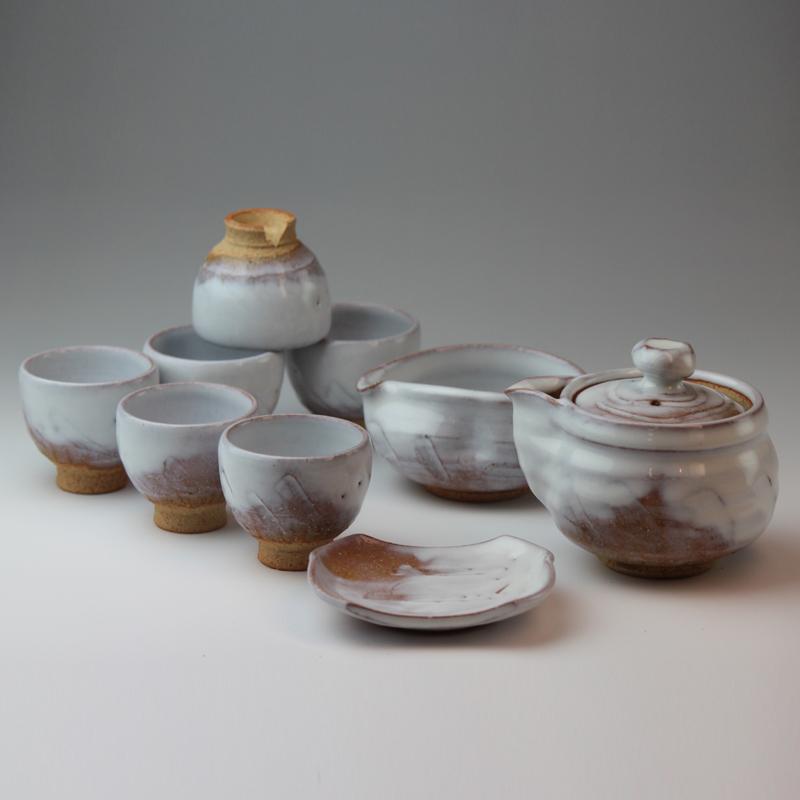 萩焼 萩陶苑 白釉煎茶器 木箱 【焼き物/陶器/茶器/茶道具/日本茶】