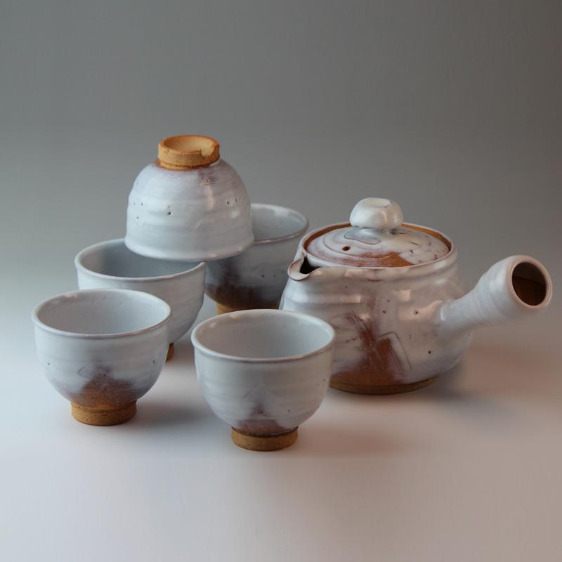 萩焼 萩陶苑 白釉茶器揃 木箱 【焼き物/陶器/茶器/茶道具/日本茶】