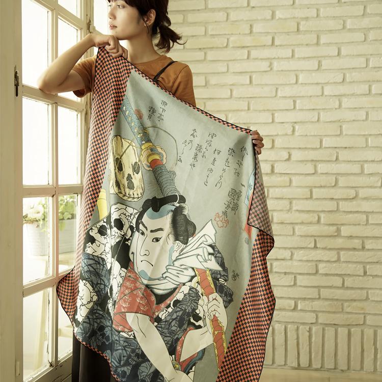 シルクスカーフ シルク100% 大判スカーフ silk scarf 浮世絵スカーフ 歌川国芳「野晒悟助」絹 utagawa kuniyoshi