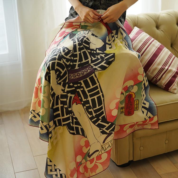 【50%OFF】シルクスカーフ シルク100% 大判スカーフ silk scarf 浮世絵スカーフ 歌川国貞「浮世伊之助」絹 utagawa kunisada