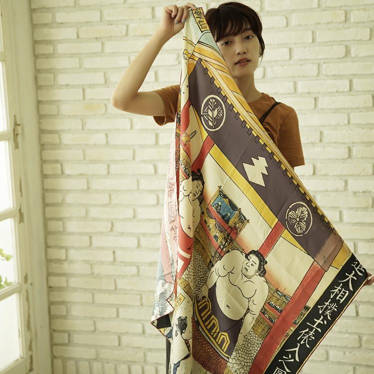 シルクスカーフ シルク100% 大判スカーフ silk scarf 浮世絵スカーフ 歌川国芳「歓心大相撲」絹 utagawa kuniyoshi