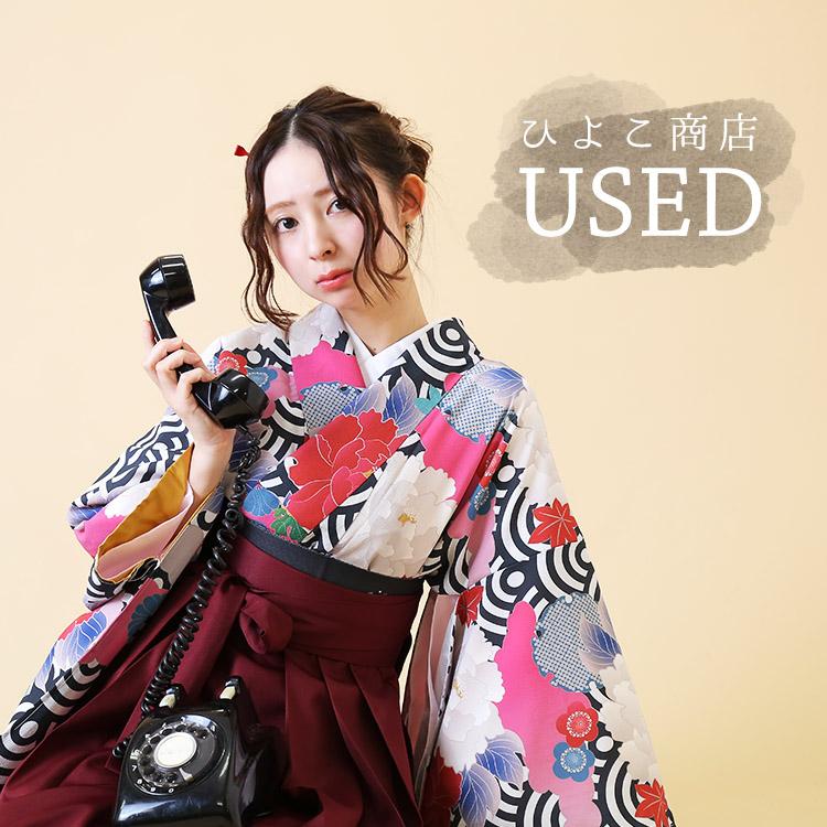 ★USED★適適応身長153~170cm/大人用袴 3点セット(着物/袴/襦袢)