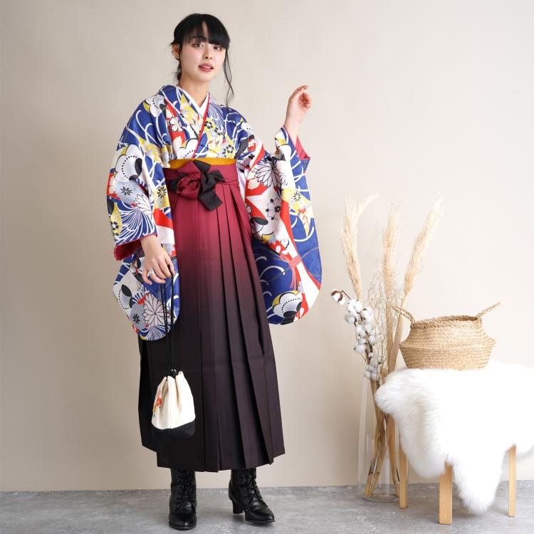 ★USED★適適応身長150~163cm/大人用袴 3点セット(着物/袴/襦袢)