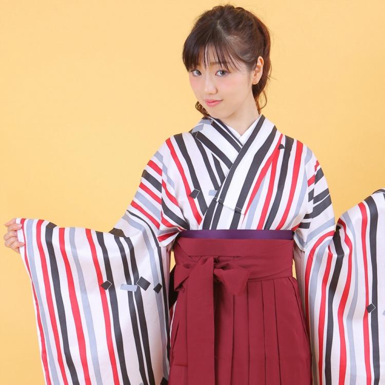 【レンタル】適応身長150cm~♪貸衣装 袴 着物 卒業式 小学生 中学生 大学生 赤 黒 モダン しましま