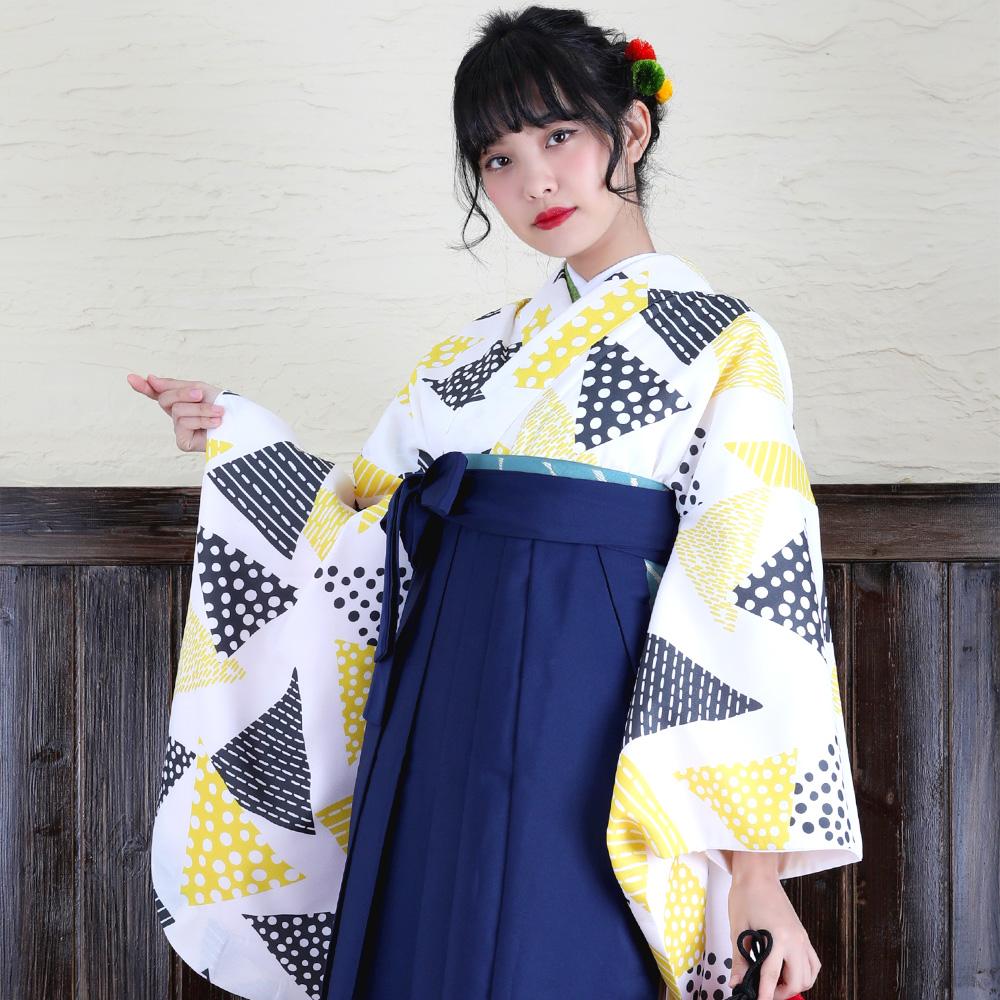 【レンタル】適応身長145cm~♪ひよこ商店・レンタル部。ジュニア袴15点セット 貸衣装 袴 着物 卒業式 小学生 中学生 大学生 個性的 三角 トライアングル チーズ 黄色 幾何学 顔写り良い hakama kimono ニコアンティーク ニコ
