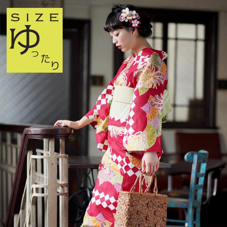 ◆ 浴衣 セット レディース 浴衣 3点セット(浴衣/帯/下駄)ゆったりサイズ 大きいサイズ 3L Nico Antique ニコアンティーク 浴衣セット ゆかた レディース