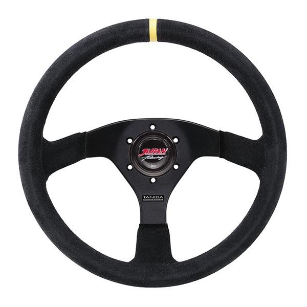 送料無料!タニダ JURAN(ジュラン) レースプロステアリング ホーンボタン付き Speed 350Φ フラット スエード【350756】