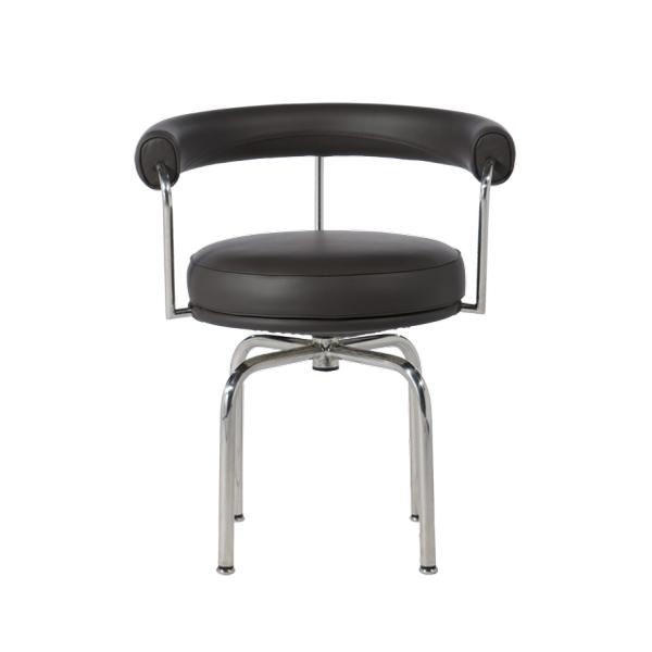 【プレミアム】【受注生産対応:納期約45-90日 LC7  レザー ブラック 一人掛け 椅子 肘付き オフィス ミーティングチェア ダイニングチェア