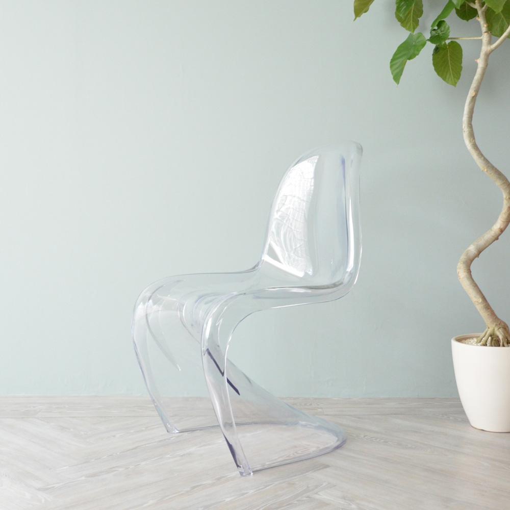 【クリア】パントンチェア PANTON Chair ポリカーボネート製 クリア スタイリッシュ おしゃれ ジェネリック家具 ジェネリック デザイナーズ 透明 スタッキング クラシック 送料無料 プラスチック 椅子 いす ヴェルナー・パントン チェアー ダイニングチェア 北欧