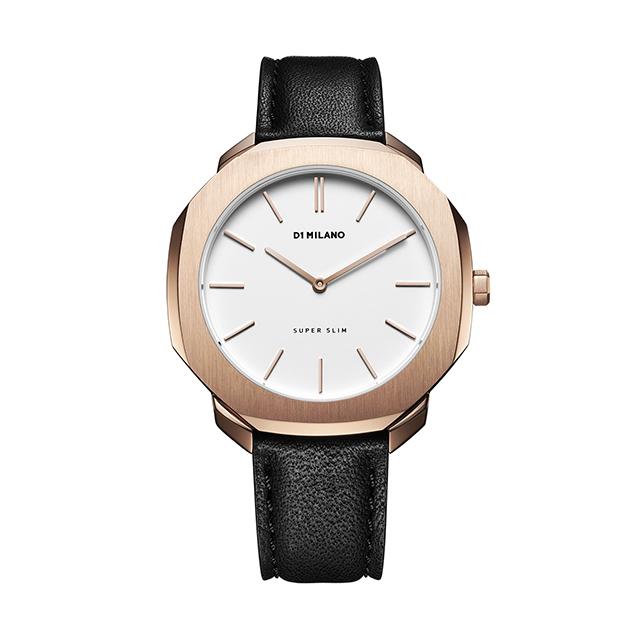 ディーワンミラノ D1 MILANO Super Slim Rose Gold Case with Black Leather Strap 腕時計 レディース