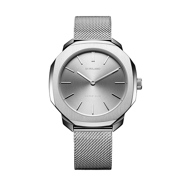 ディーワンミラノ D1 MILANO Super Slim Silver Case with Silver Mesh Strap 腕時計 レディース